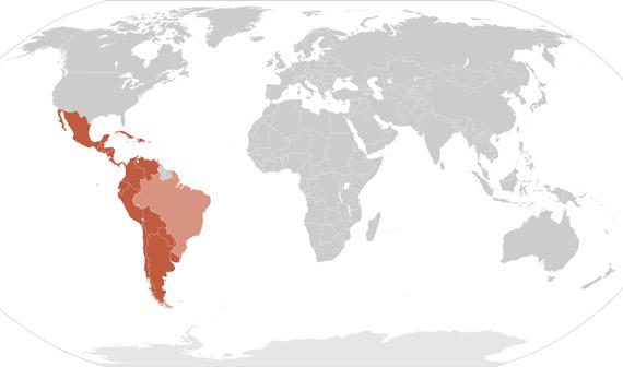 Landkarte Lateinamerika - in diesen Ländern wird spanisch gesprochen